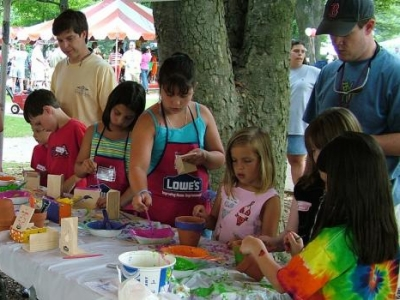Children doing crafts at Children's Festival