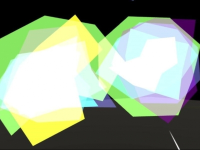 Image description: Lots of angular shapes overlapping in green, purple, blue and white on a black background.